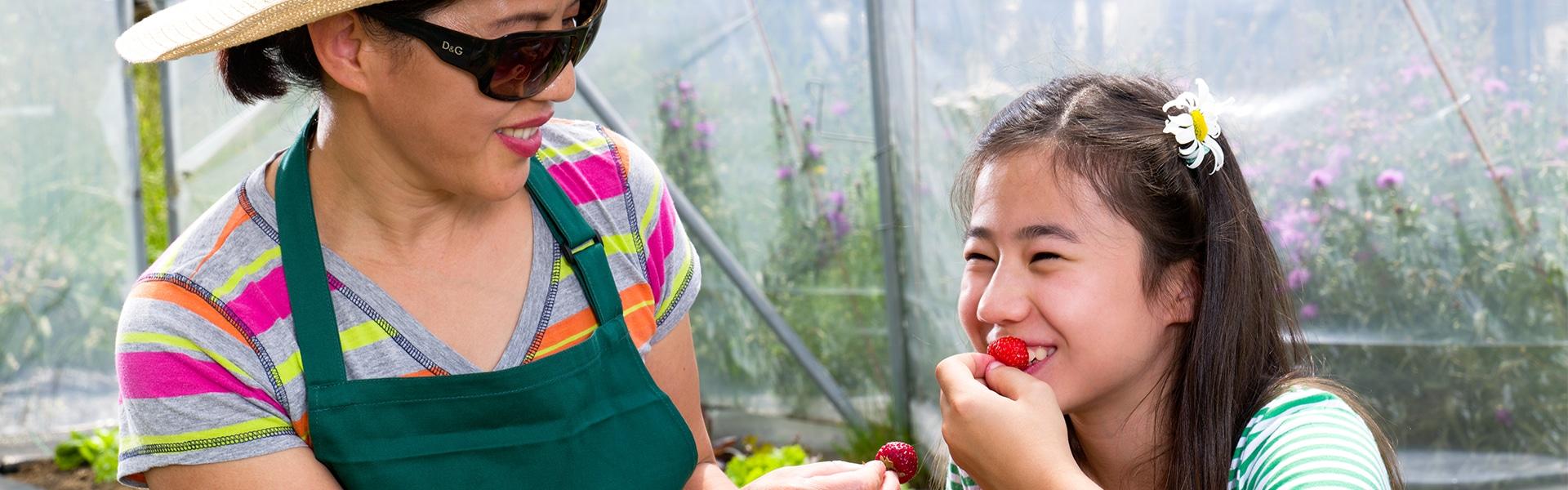 Mutter und Tochter essen Erdbeeren