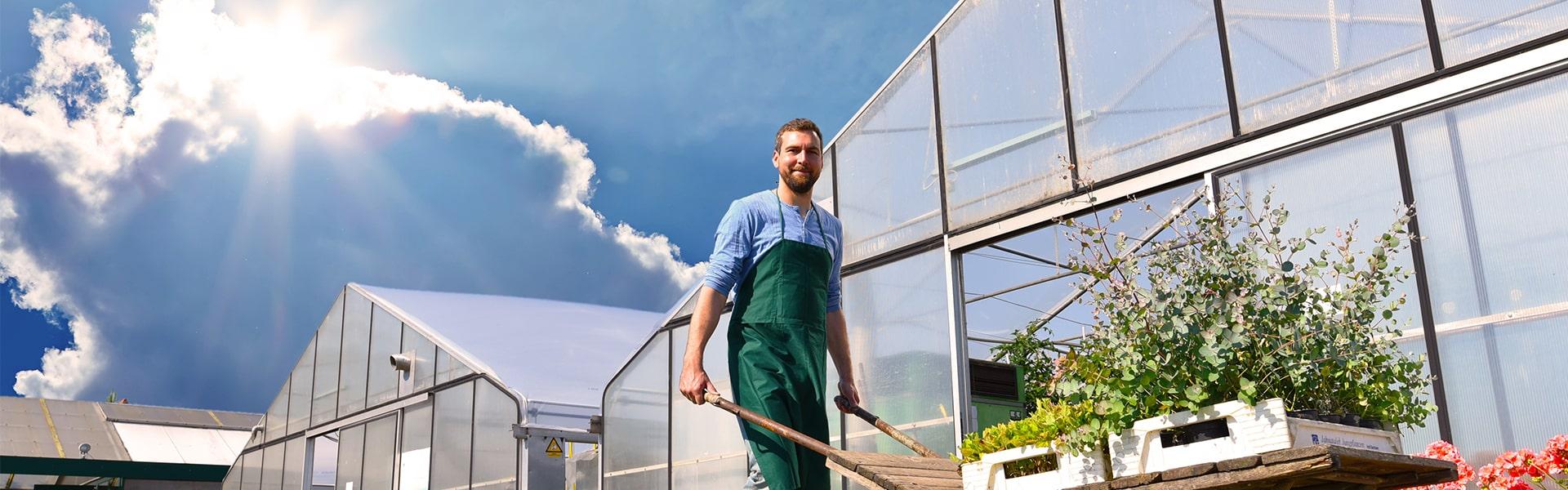 FVG SUN SAVER EVO AC® Gewächshausfolie Gärtner mit Schubkarre vor Gewächshäusern