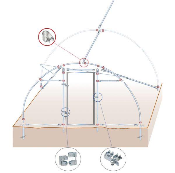 Zeichnung Mini Römi Folientunnel mit Tür